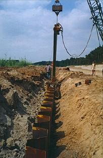 Шпунт Ларсена Омега использован для формирования стены в грунте для отсечения грунтовых вод